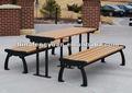 Reciclado faux madeira mesa de jardim conjuntos, conjunto de jantar