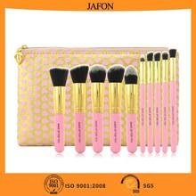 Pink 10pcs traveling professional cosmetic brush