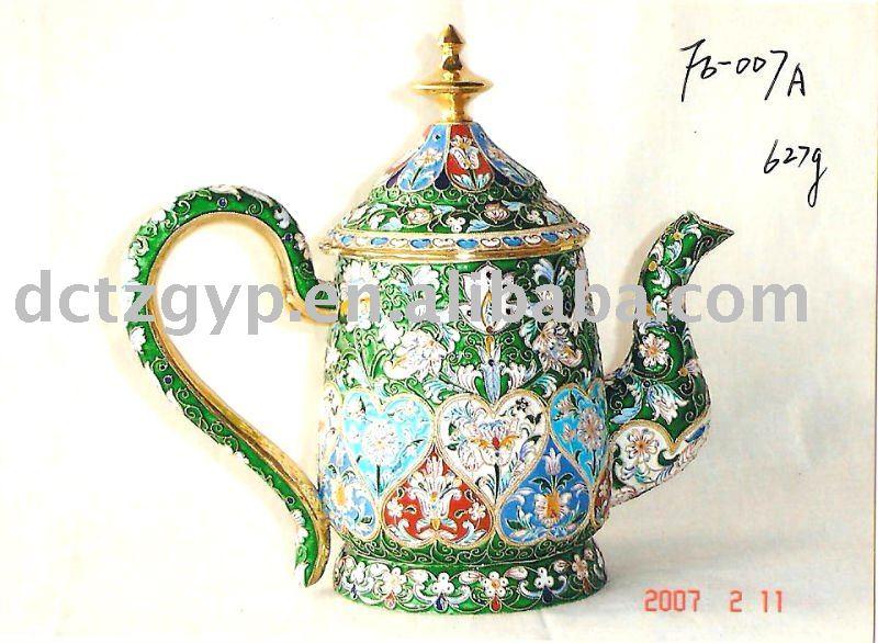 la plata del esmalte olla de té