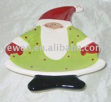 santa dish,ceramic 3D santa dish by handpainted