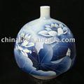 Azul e branco vaso de cerâmica lírio de água WRYEA04