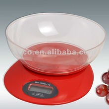 Portion Pro Durable Digital Kitchen Scale w/Acrylic Bowl - Red