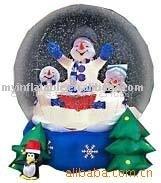 Snowman Family in Snow Globe