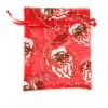 red large size of organza candy bag for wedding, colourful printing