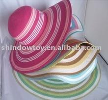 Ladies fashion summer straw sun hat, Striped wide brim straw hat, Beach hat