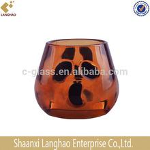 Pumpkin Shape Amber Glass Candle Holder