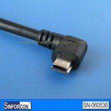 Angled mini usb cable, mini usb 5p angle extension cable for mobile, mp3, gps, portable hard disk