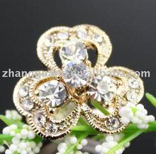 New trendy costume jewelry yellow gold flower ring crystal rhinestone resin