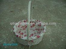 white flower willow basket