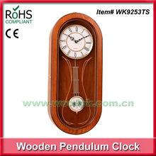 24x57cm Oval shape quartz pine timber pendulum clock funny wall clock