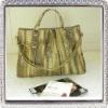 Yellow snake skin fashion lady handbag
