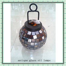 Medium Handmade Hanging Mosaic Tan Stained Antique Glass Oil Lamps