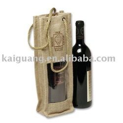 2014 Promotional single Bottle Jute Wine Tote with Rope Handles and Window