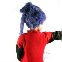 beautiful rex rabbit fur knitted child fur hat HRBk02