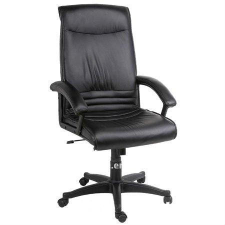 respaldo alto negro de cuero silla de la computadora rf