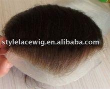 Swiss Lace real virgin human hair piece silk base toupee/ hair wigs for men