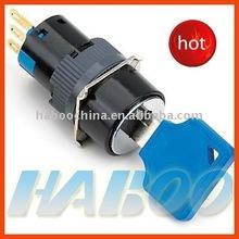 HBD16 IP65 waterproof key lock push button switch