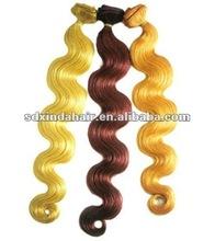 cheap body wave 26inch human hair weft/weaving machine made
