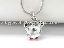 White gold plating crystal and epoxy bear face pendant necklace