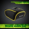 wide mouth opening design waterproof yellow piping bicycle saddle bag