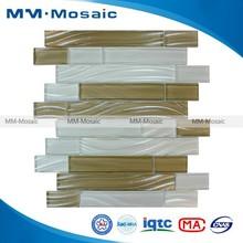 Brown Glass Kitchen Backsplash Strip Glass Mosaic RZG001SJG