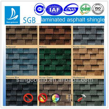 ISO9001:2008 certified SGB laminated asphalt roofing tile