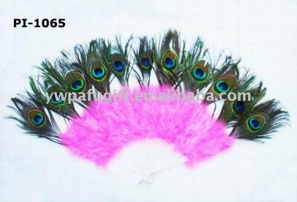 21 costillas abanico de plumas con plumas de pavo real dacing ventilador