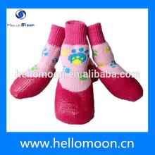 Pink Bear Pattern Dog Socks Waterproof Rubber