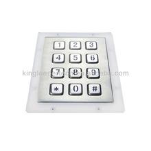 Indoor outdoor panel mount metal with 12 numeric backlight/illuminated keys