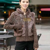 QD11564 Plus Size Women Knitting Wool and Real Rabbit Fur Jacket Outerwear