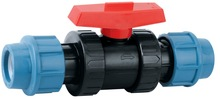 Double Union PP Ball valve PN16 (Straight) PP COMPRESSION FITTING For HDPE PIPES