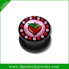 saddle flesh tunnels with multi gems & logo