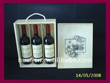 Rope handle 3 bottle pine wooden wine box with sliding lid