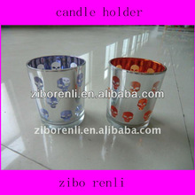 Personalized Silver Stained Glass Skeleton Pattern Hand Painting Bulk Candle Holders