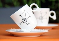 white decal coffee ceramic mug