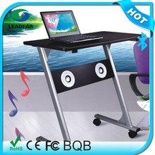 floor standing laptop desk with bluetooth speaker