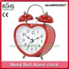 9.5x13cm Woodpecker red color heart shape metal twin bell small alarm clock
