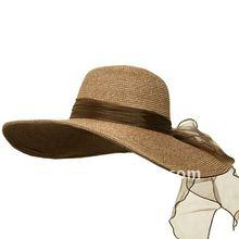 Ribbon Band ML Wide Brim Straw Bucket Hat - Natural ccap-0545