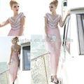 coniefox atacado frisado elegante decote em v longo rosa vestidosdedamadehonra 80638