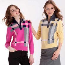 ladies' apparel half-zip Polo-sweater;new fashion pure cashmere