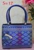 Thailand silk bag size S Smart Blue