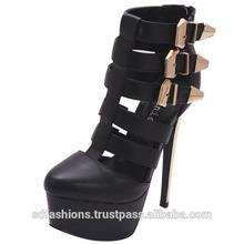 Sexy Women's Black Stiletto Heel Platform Buckle Strap Shoes - Elle83A-BLK