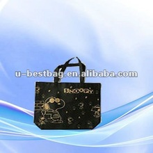 Snoopy non-woven shopping bags with black handle