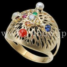 K18, 17x19, rubies, pearls, coral, emeralds, yellow sapphires, diamonds, blue sapphires, garnets, cat's eyes