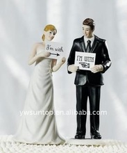 Read My Sign - Bride and Groom Figurines wedding cake toppers
