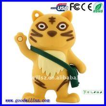 Oem-PVC lovely tiger animal shape usb flash drive/cartoon usb flash 2.0