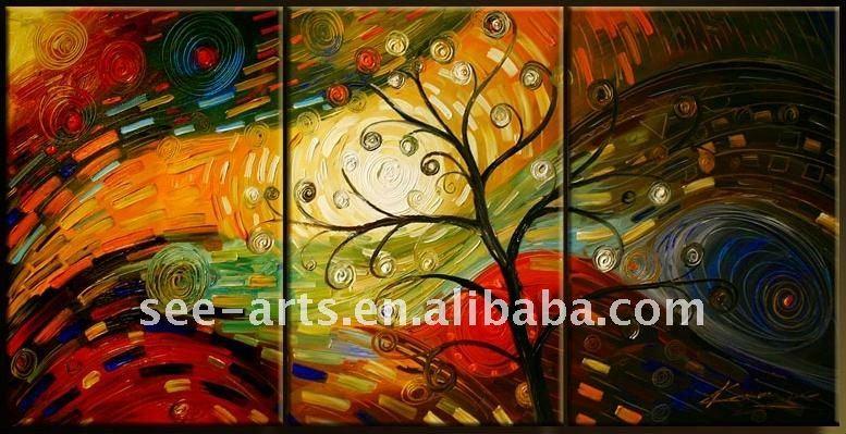 Pintura al óleo abstracta de los árboles modernos-Pintura y ...