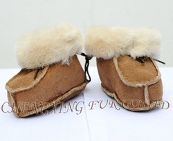 CX-SHOES-05 Genunie Sheared Sheep Skin Baby Casual Shoes