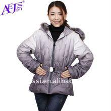 New Arrival, zipper women coats fashion 2013 with fur hood+long sleeve&belt