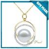 Simple design Valentine's Day 18K Gold Pearl Pendant with Diamonds